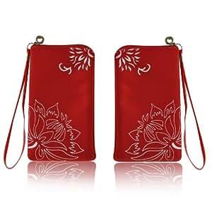Zipper Case Handytasche Etui Reißverschluss Tasche Schutzhülle RV Rot für Samsung GT-S5230 Star - Samsung GT-S5260 Star II