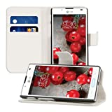 Elegant leather case for the LG Optimus L7 II P710 with magnetic fastener and stand function in White from kwmobile