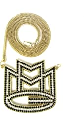 """Iced Out GOLD & BLACK Rick Ross MMG Pendant & 36"""" Franco Necklace Chain"""