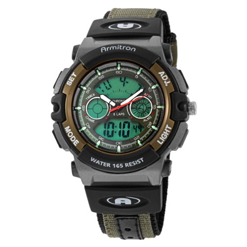 Armitron Men's 201437GRN Chronograph Analog-Digital Instalite Black Sport Watch