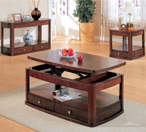 Benicia Coffee Table Set with Lift Top in Dark Wood