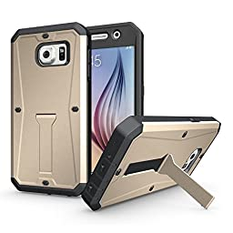 Galaxy S6 Case,HEAVY DUTY Built-in Screent Protector Front Cover 3 in 1 Combo with Kick-Stand Feature for Samsung Galaxy S6 Vogue Shop