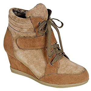 Reneeze BEATA-03 Womens Color-Block Wedge Sneaker Booties- Camel/Beige, Size 6