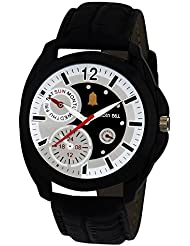 Golden Bell Original Chronograph Look Black And White Dial Wrist Watch For Men