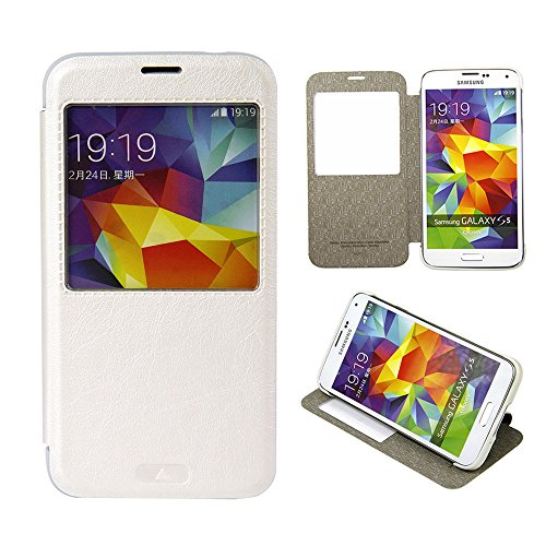 Moon Monkey Classical Ultra-Thin Vintage Intelligent Window Folio Flip Leather Cover Case For Samsung Galaxy S5 (White)