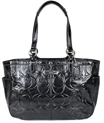 Coach Embossed Signature Patent Leather Gallery Tote Bag 19462 Black