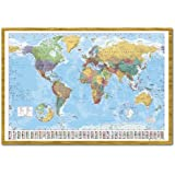 World Map Poster With Country Flags Oak Framed - 96.5 x 66 cms (Approx 38 x 26 inches)
