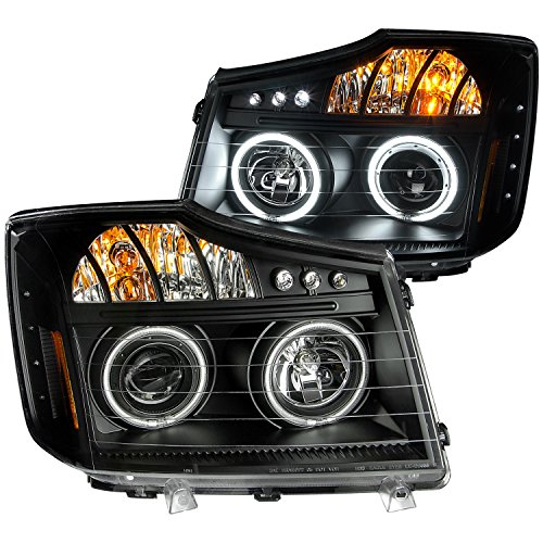 AnzoUSA 111178 Black Clear/Amber Projector Halo LED Headlight for Nissan Titan - (Sold in Pairs) (04 Nissan Titan Halos compare prices)