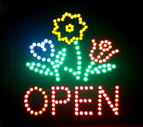 E-ONSale Ultra Bright Flower Shop Store LED OPEN Sign