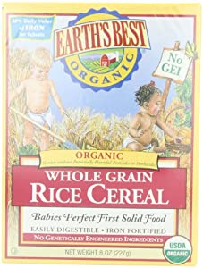 Earth's Best Organic Whole Grain Rice Cereal, 8 Ounce Box (Pack of 12)