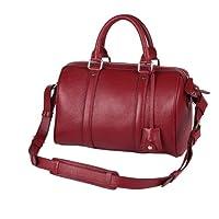 Fineplus Women's Leechee-grain Leather Boston Tote Bag Wine-red