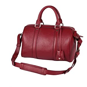 Fineplus Women's Leechee-grain Leather Boston Tote Bag Wine-red