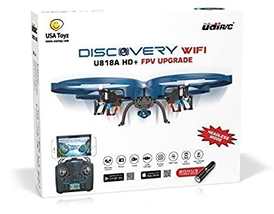 UDI U818A WiFi FPV RC Quadcopter Drone with HD Camera - 2.4GHz 4 CH 6 Axis Gyro RTF Includes BONUS BATTERY + Power Bank (Quadruples Flying Time)