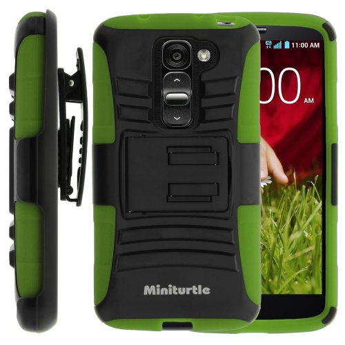 Miniturtle, High Impact Rugged Hybrid Dual Layer Protective Phone Armor Case Cover With Built In Kickstand And Swivelling Holster Belt Clip For Android Smartphone Lg G2 Mini D620, Ls885 (Black / Green)