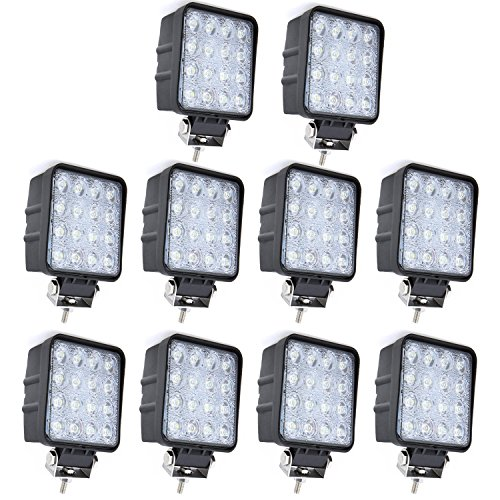 Willpower 10PCS 4 inch 48W Spuare Spoot Beam 4800LM LED Work Light Bar for 4x4 off road tractor jeep Cabin SUV ATV UTV 4WD Car Boat 10-30V Wateproof 6000K (35 Watt 18650 compare prices)