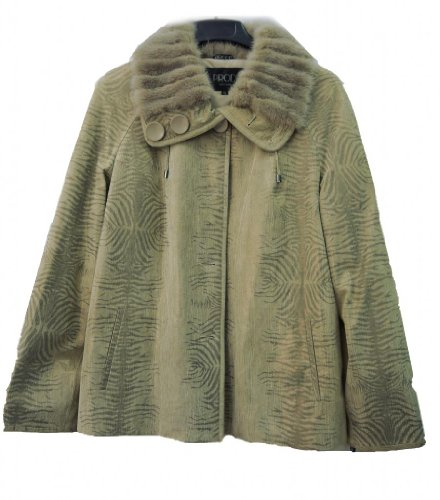 WOMAN'S GENUINE LEATHER COAT WITH MINK TRIM