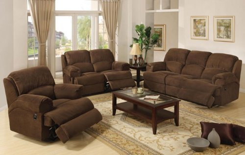 Buy Low Price Poundex 3pcs Sofa Loveseat & Recliner Set – Coco Brown Finish (VF_LivSet-F7787)