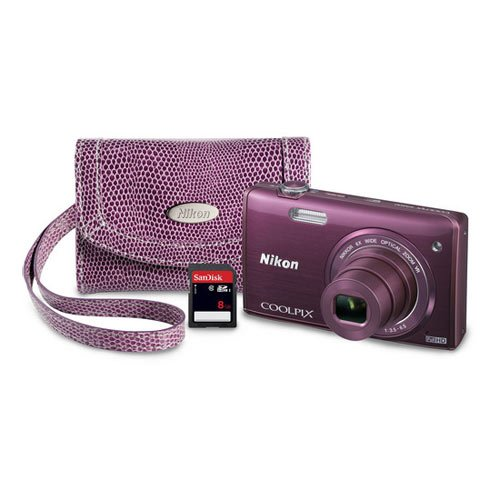 Nikon COOLPIX S5200 Wi-Fi CMOS Digital Camera with 6x Zoom Lens (Plum)
