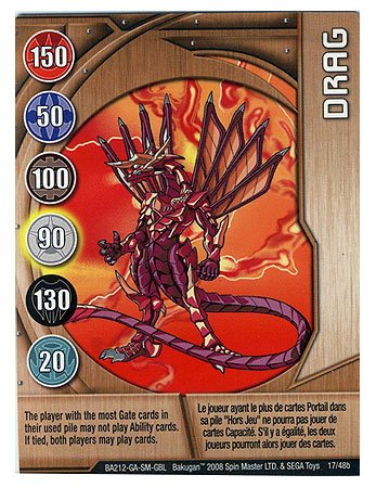 Bakugan Battle Brawlers Metal Gate Command Card - Drag - 1