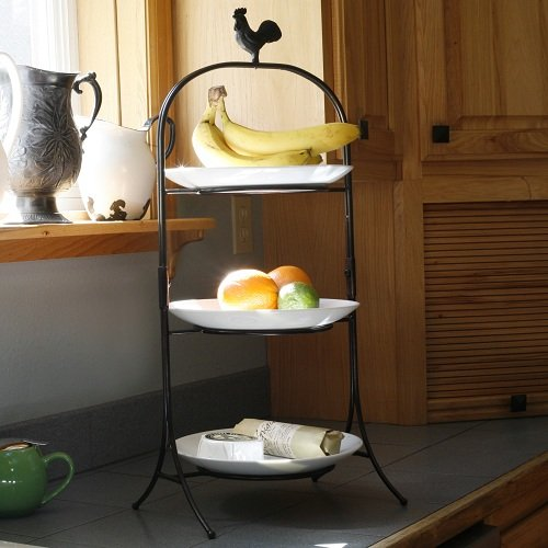Cheap Three Tier Rooster Finial Buffet Server with Porcelain Platters in Black with Brushed Copper (AK-1204)