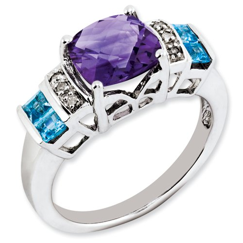 Sterling Silver Amethyst, Light Swiss Blue Topaz & Diamond Ring