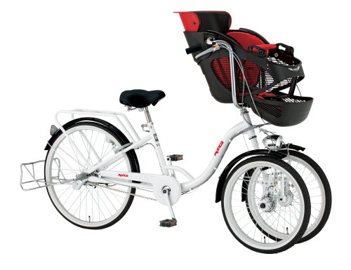Aprica(アップリカ) 子乗せ三輪自転車 ホワイト チャイルドシート付き 内装3段 ダイナモハロゲンライト搭載 クラス27キャリア 前輪20インチ後輪24インチ BAAマーク取得 10507-12
