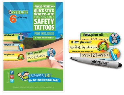 SafetyTat Child ID Tattoos (Multi-Design 6pk) - 1