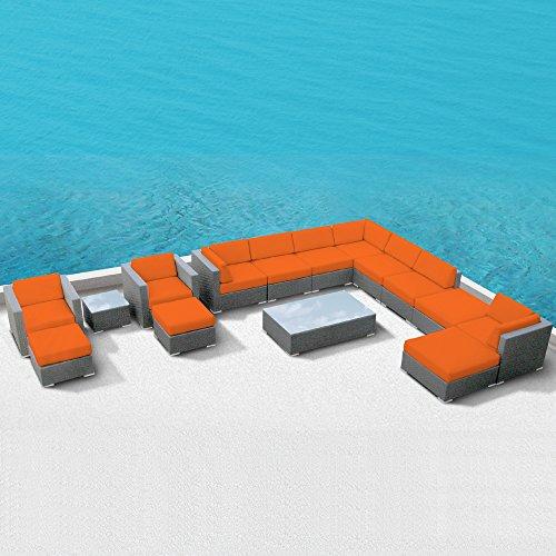 Luxxella Patio Bella 15Pcs Modern Orange Outdoor Furniture All Weather Wicker Couch Sofa Set
