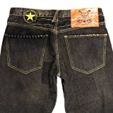 Picture Of Yoropiko patch black denim jeans YORO5432