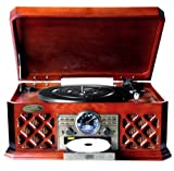 Pyle PTCD4BT Bluetooth Classic Style Record Player Turntable with CD Player, Cassette Deck and USB Flash Drive Reader