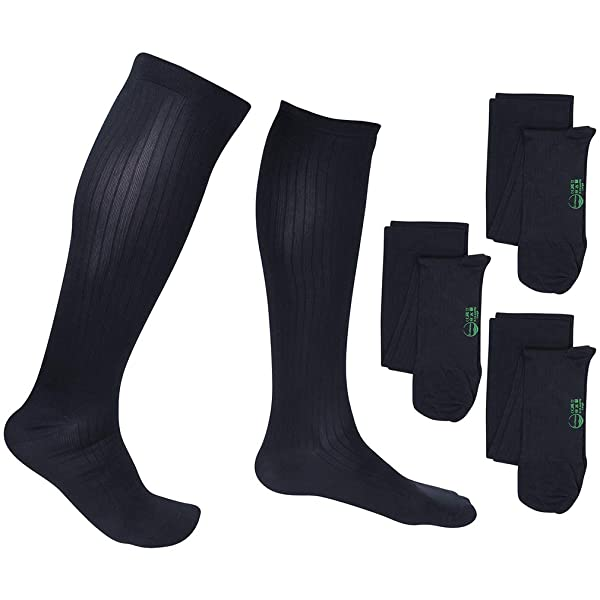 3 Pair EvoNation Men's USA Made Graduated Compression Socks 20-30 mmHg Firm Pressure Medical Quality Knee High Orthopedic Support Stockings Hose - Best Comfort, Circulation, Travel (Large, Navy Blue) (Color: Navy, Tamaño: Large)