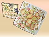 CARMANI Porcelain square dessert plate with pear motif