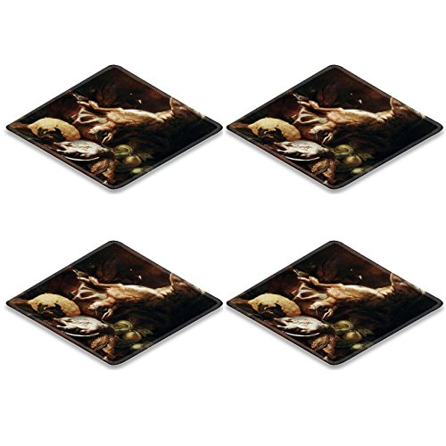 MSD Square Coaster 4 Piece Set Claude Oscar Monet cliff near dieppe Cup Mug Can Water Bottle Drink Coasters Stain Resistance Collector Kit Kitchen Table Top Desk бижутерия monet цены