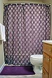 DII Elegant Modern Lattice Lace 100% Polyester Machine Washable Shower Curtain 72x72, Eggplant