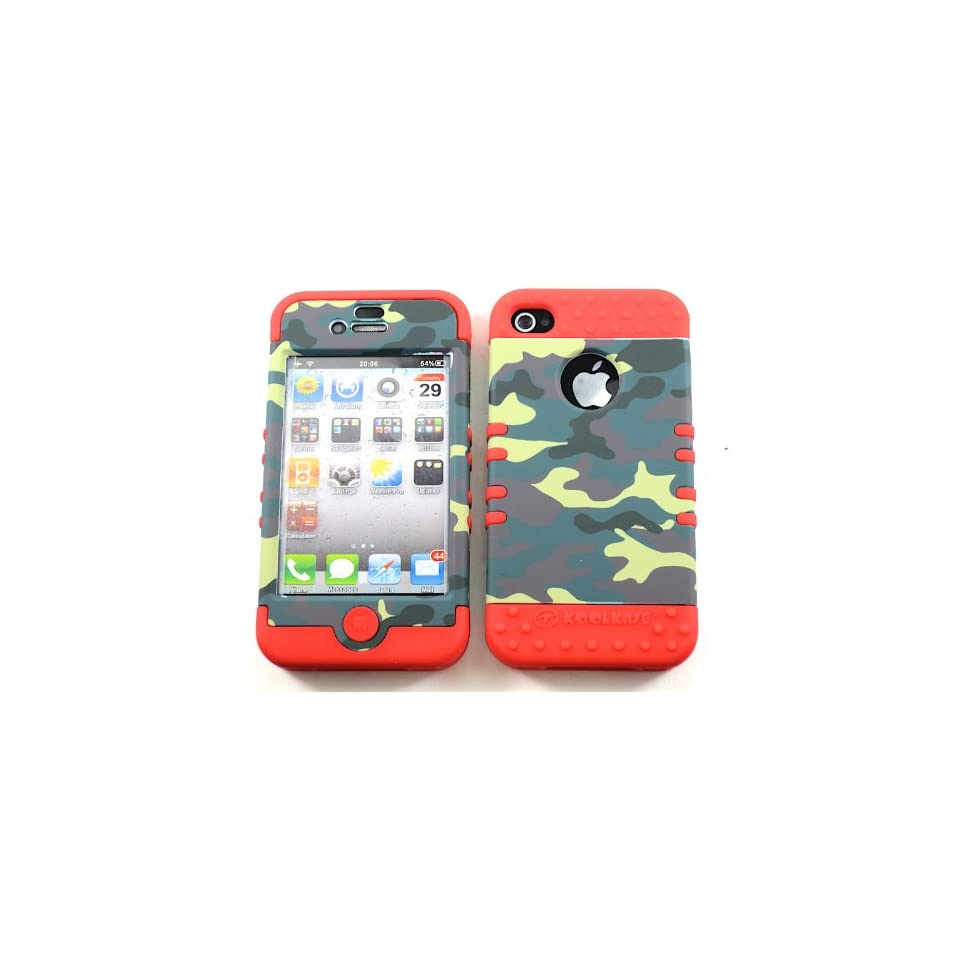 SHOCKPROOF HYBRID CELL PHONE COVER PROTECTOR FACEPLATE HARD CASE AND RED SKIN WITH MINI STYLUS PEN. KOOL KASE ROCKER FOR APPLE IPHONE 4 4S CAMO RD TE488