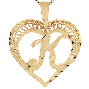 K Letter With Heart Images 10k Real Gold Filigree Beautiful Heart Letter K Initial 2.92cm Slide ...