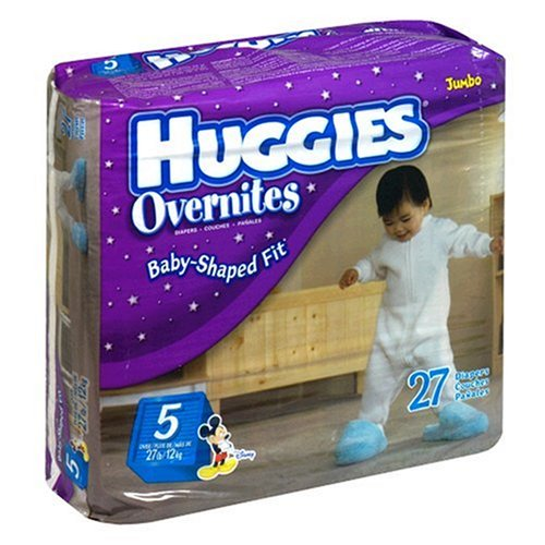 Buy Now at Amazon.com: Huggies Overnites Diapers, Step 5 (27+ Lbs), 27-Count Packages (Pack Of 2) (54 Diapers)