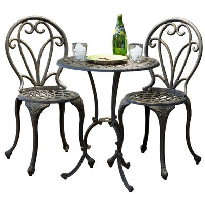 Best Selling Evan Cast Aluminum 3-Piece Bistro Set, Dark Gold image