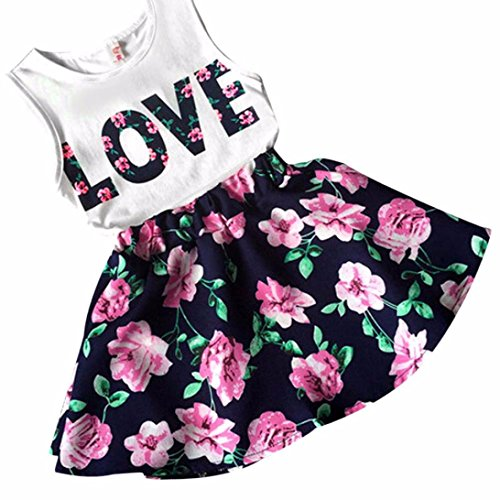 Mosunx(TM) Baby Girls Sleeveless Floral Princess Party Dress Vest+Skirt Set Clothes (3-4 Years, Navy)
