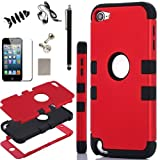 SQdeal® Hybrid 3 Layer Hard Case w/ Silicone Soft Shell Inside Case for ipod Touch 5 5th Gen Generation,with Dust Plug/Touch Stylus/Earphone/Fish Bone Cable Winder (Red + Black)