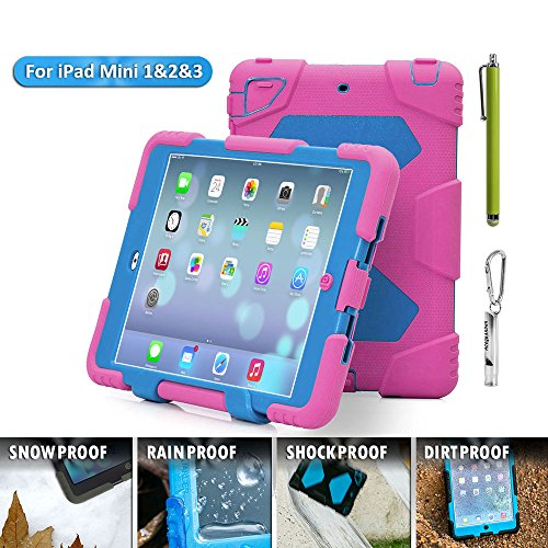 ACEGUARDER Apple Ipad Mini 2 Case Waterproof Rainproof Shockproof Kids Proof Case for Ipad Mini 2 (Gifts Outdoor Carabiner + Whistle + Handwritten Touch Pen) (ROSE/LIGHT BLUE) (Chicken Ipad Mini Case compare prices)