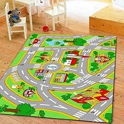 HUAHOO Kids Rug With Roads Kids Rug City Street Map Children Learning Carpet Play Carpet Kids Rugs Boy Girl Bedroom Play Mat Children s Rug 39.4 x 59