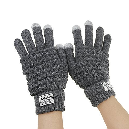 Fakeface Knitted Wool Touch Screen Texting Gloves for All Touchscreen Electronic Devices for Women/Ladies/Girls; Great Gift for Christmas/Birthday/New Year (Grey)