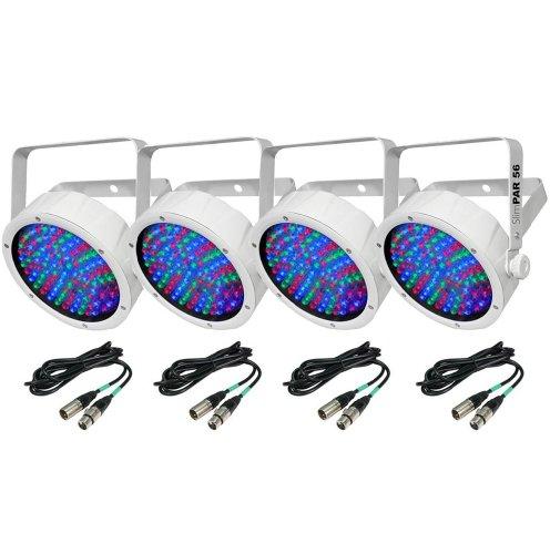 (4) Chauvet Slimpar 56 Led White Slim Par Can Rgb Lights + 10' & 25' Dmx Cables