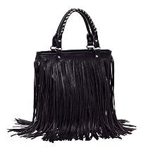 Hot Sale 2012-2013 Woman lady or girl Black Leather Punk Tassel Fringe Handbag/ Shoulder Handle /Satchel /Purse/ Hobo Tote bags
