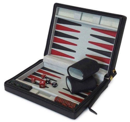 Mallette de jeu backgammon de voyage façon cuir - Noire - 3220Z
