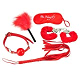 Ultra-DNA SM 5 Pieces Bead Handcuffs Feather Whip Mask Set for Passion Bondage Kit with Sexy Dice