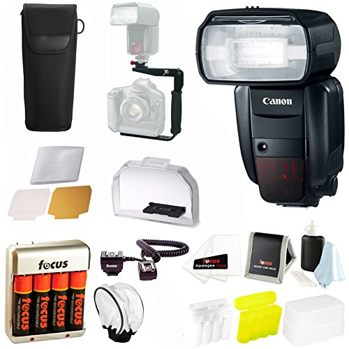 Canon Speedlite 600EX-RT Flash w/ 4 High Capacity AA Rechargeable Batteries & Rotating Flash Bracket Bundle (Ex 270 Ii compare prices)