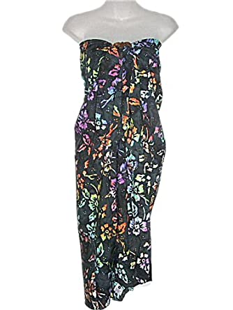 HAWAIIAN PLUS SIZE BLACK MULTI COLOR HIBISCUS SARONG (XL-2X) W/ COCONUT SARONG BUCKLE