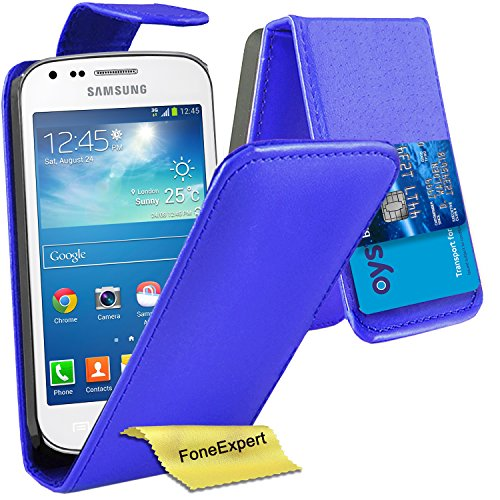 Samsung Galaxy Trend / Trend Plus Hülle, FoneExpert® Hülle Wallet Case Cover Hüllen Etui Ledertasche Premium Lederhülle Schutzhülle für Samsung Galaxy Trend / Trend Plus (GT-S7560 / GT-S7580) + Displayschutzfolie (Flip Blau)